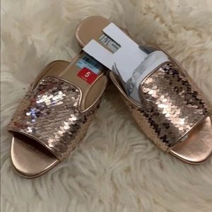 New INC Rose gold/White Sequin Slides women Size 5